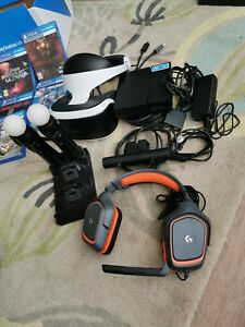 Playstation VR, Move Controllers, Games, PS Camera and Headset