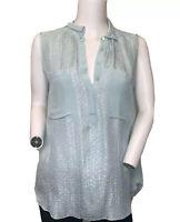 Rebecca Taylor 2 Light Green Silk Tank Blouse Top