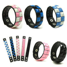 Synthetic Leather  Studded Bangle Bracelet Adjustable Button