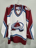 RARE Vintage 90s CCM NHL Colorado Avalanche White Hockey Jersey Mens S Sewn