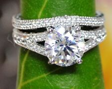 1.99CT ROUND CUT TWO ROW DIAMOND ENAGEMENT RING & MATCH BAND IN 14CT WHITE GOLD