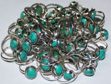 925 Solid Sterling Silver 50Pc Lot Ring Natural Turquoise Stone US Size 3 to 14