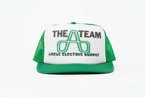 Vintage A Team Ampac Electricity Supply Trucker Snapback Baseball Mesh Hat