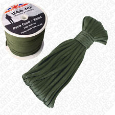 Web-tex Heavy Duty 3mm Green Para Paracord Cord Utility Rope - 2 Meter Length