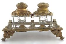 Double Ink Well Art Nouveau Gilt Brass 3 Inches Tall 2 Inches Wide E982