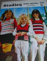 Original Vintage Studley Knitting Pattern Girls DK Colour Patterned Tops No 625