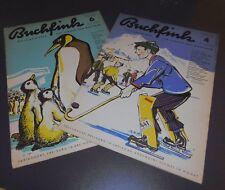 2 hefte buchfink illustrierte für jungen und mädchen heft 4+6 alt top deko 1955