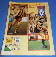 1982 AFL Football Footy Record Qualifying Final Hawthorn Carlton No Scores 64 Pg