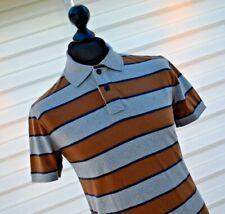 Fat Face mens Francis Block Stripe Polo Shirt Top Collared Grey Brown Navy Sz Sm