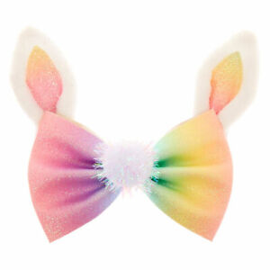 Claire's Rainbow Glitter Easter Bunny Hair Bow Clip