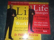 Dr Phillip C McGraw x2 Books Life Strategies Stop Making Excuses & Workbook VGC