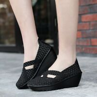 Women Wedge Mary Jane Sandals Closed Toe Weave Platform Heel Sandals Shoes