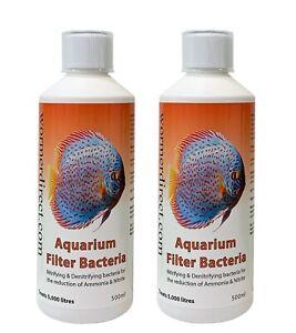Aquarium & Tropical Filter Bacteria Tank Starter Ammonia Nitrite 500ml x 2 (1L)