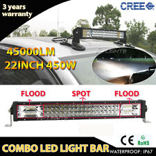"TRI-ROW OSRAM 450W 22"" COMBO LED Work Light Bar Offroad Pickup SUV 4WD CAR Truck"