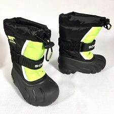 Sorel Toddler Flurry TP Winter Boots Black Green Size 6 US NEW