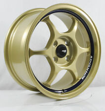 4pcs ADVAN RG1 15 inch Rim Wheel 4X100 Alloy wheels Cheap rims Car GOLD -1