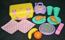 PICNIC BASKET SET Fun with Food Fisher Price Grill, Plates, Radio, Chicken Leg
