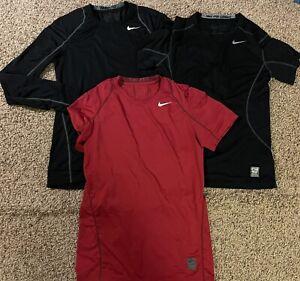 Lot Of 3 Nike Men's Pro Combat Shirts Long Sleeve And Short Sleeve Size S