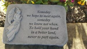 Angel Memorial Garden Stone Plaque Grave Ornament Someday we Hope to Meet Again