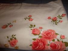 "Vintage Unbranded Twin/Full 78""x84"" Muslin Floral Border Print Flat Sheet Peach"