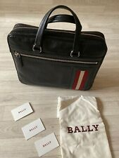 Bally Bag Black Leather Laptop Carrier 35.5cm X 30cm Briefcase Satchel BALLY new