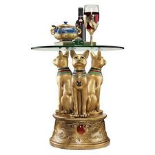 "Ancient Egyptian Royal Golden Bastet 20"" Glass-Topped Sculptural Side Table"