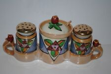 Japan Lusterware Handpainted Mustard Shaker Set Salt Pepper Ladle Vintage