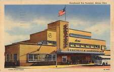 Akron Ohio Greyhound Bus Terminal Linen Antique Postcard K23564