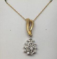"10K YELLOW GOLD DIAMOND TEAR DROP CLUSTER PENDANT W/18"" CHAIN"