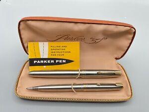 Vintage PARKER 51 FLIGHTER Fountain pen & Pencil set 14K Broad nib NOS Boxed