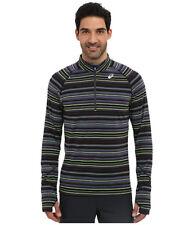Asics THERMOSTRIPE Mens 1/2 Zip Front Running Shirt XXL Grey Neon Green NEW
