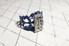 Police Box Ring on Blue Filigree, inspired by Doctor Who and the TARDIS