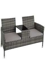 Poly Rattan Bench ,glass,table,2,seats,cushions,garden,furniture,