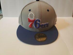 New Era Custom Philadelphia 76er's Fitted Hat Cap Gray Red Blue 7 1/8
