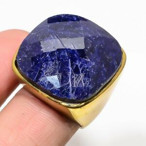 Natural African Blue Sapphire Ring Gold Plated Mens Valentine Fine Jewelry Gifts