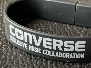 """""""Music Exclusive"""" CONVERSE ALL STAR Black USB Wristband Silicone Rubber Bracelet"""