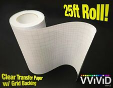 High Gloss Clear Vinyl Transfer Paper Self-Adhesive Roll Backing 12X25 ft 3mil