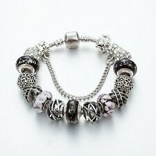 SILVER, BLACK & DIAMANTE Complete European Charm Bracelet 20cm Pandora gift bag