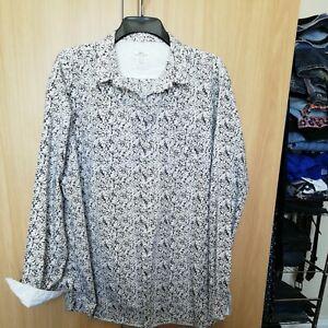 Next Mens black and white longer length long sleeve shirt xxl used