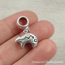 925 Sterling Silver Heartline Zuni Bear Dangle Charm - fits European Bracelets