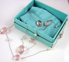 Tiffany & Co Elsa Peretti Sterling Silver Rose Quartz & Pearl 36 Inch Necklace