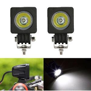 2pcs 10W Square LED Work Light Spot Pods Off Road Bike Motorcycle SUV Boat