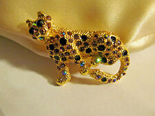 Panther Cat Figural Brooch Pin New Fashion Ab Rhinestone Collectible Leopard