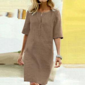 Women's Summer V Neck Solid Midi Shirt Dress Ladies OL Office Loose A-Line Dress