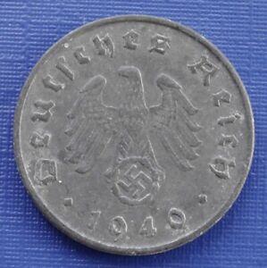 Germany 10 Reichspfennig Coin~1940 (D) Third Reich~KM#101~Zinc 3.5g~VF~#433
