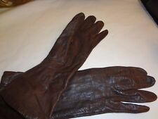 Women'S Vintage Brown Leather Gloves Made In France For Sfa Size 6