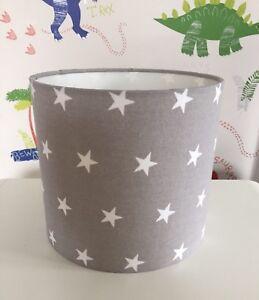 Grey & White Stars Lampshade Handmade In 20cm Drum, Nursery, Baby, Kids Bedroom
