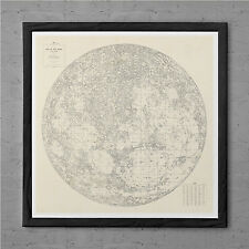 MAP of the MOON Antique Wall Art - Antique MOON Map - Vintage Moon Print