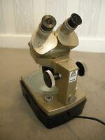 Vintage Vickers Lighted Binocular Laboratory Microscope in Box 125X 10X & 3.5X