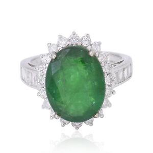 6.45 TCW Oval Emerald Gemstone Ring 14k White Gold SI/HI Round Diamond Jewelry